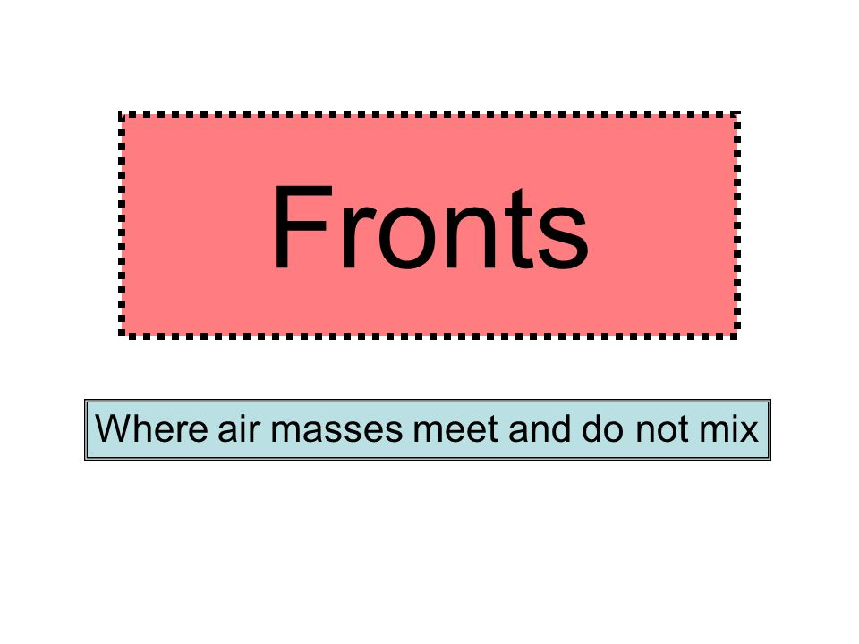 Warm Air Mass – this is an air mass made up of warm air that has a low pressure. Usually holds a lot of moisture. Forms over hot land or water. L A tr