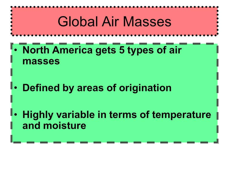 Global Air Masses North America gets 5 types of air masses Defined by areas of origination Highly variable in terms of temperature and moisture