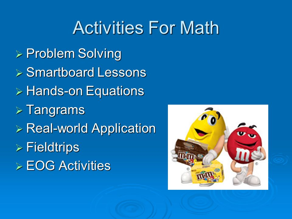 Activities For Math Problem Solving Problem Solving Smartboard Lessons Smartboard Lessons Hands-on Equations Hands-on Equations Tangrams Tangrams Real-world Application Real-world Application Fieldtrips Fieldtrips EOG Activities EOG Activities