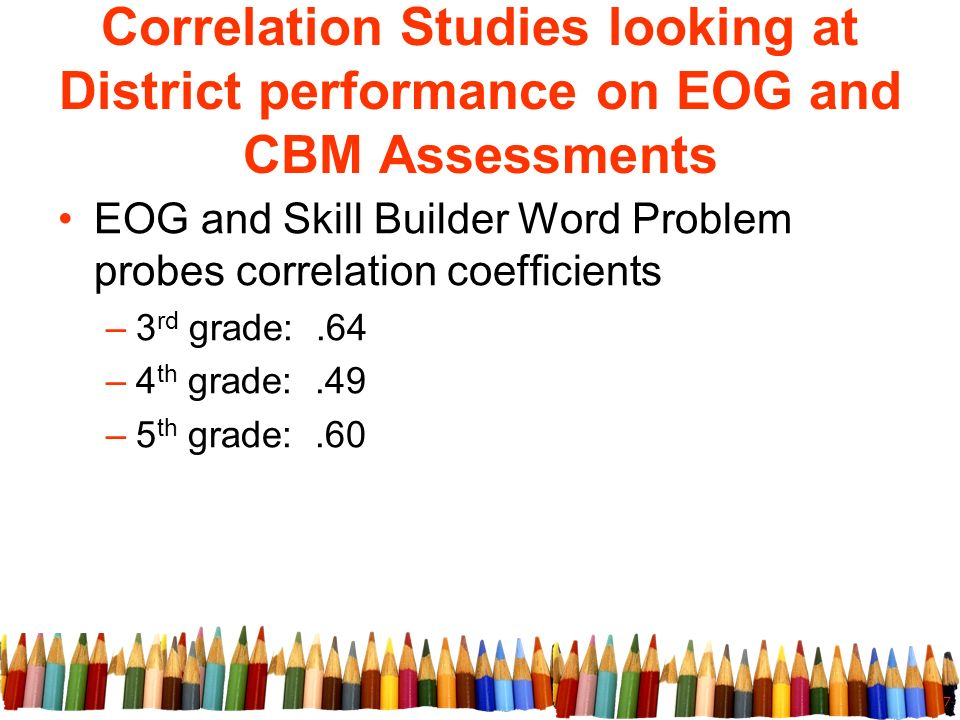 7 Correlation Studies looking at District performance on EOG and CBM Assessments EOG and Skill Builder Word Problem probes correlation coefficients –3