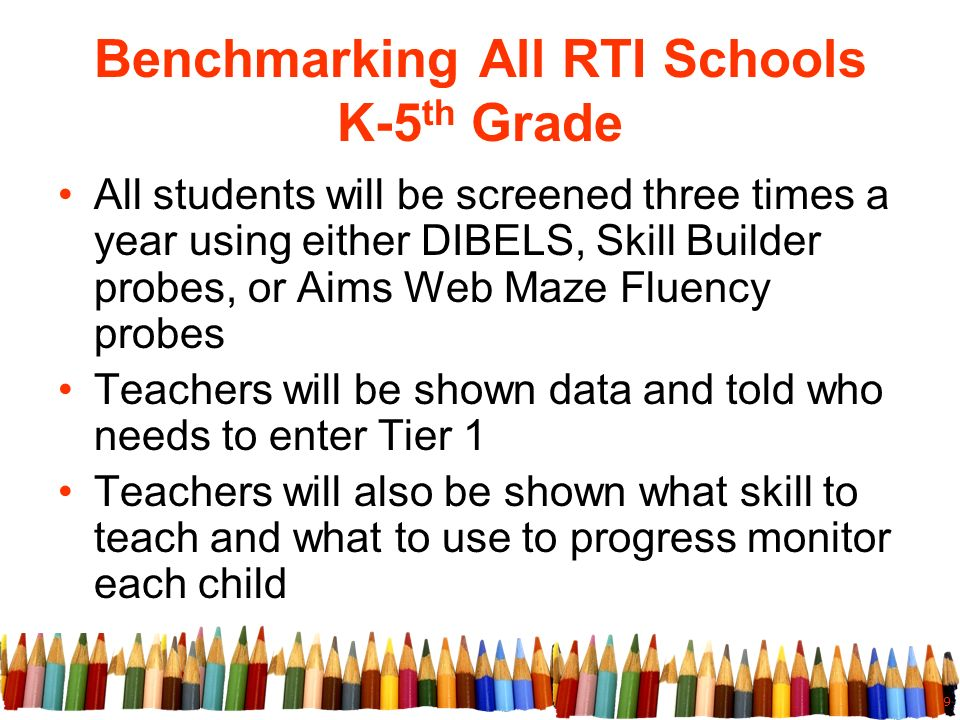 9 Benchmarking All RTI Schools K-5 th Grade All students will be screened three times a year using either DIBELS, Skill Builder probes, or Aims Web Maze Fluency probes Teachers will be shown data and told who needs to enter Tier 1 Teachers will also be shown what skill to teach and what to use to progress monitor each child