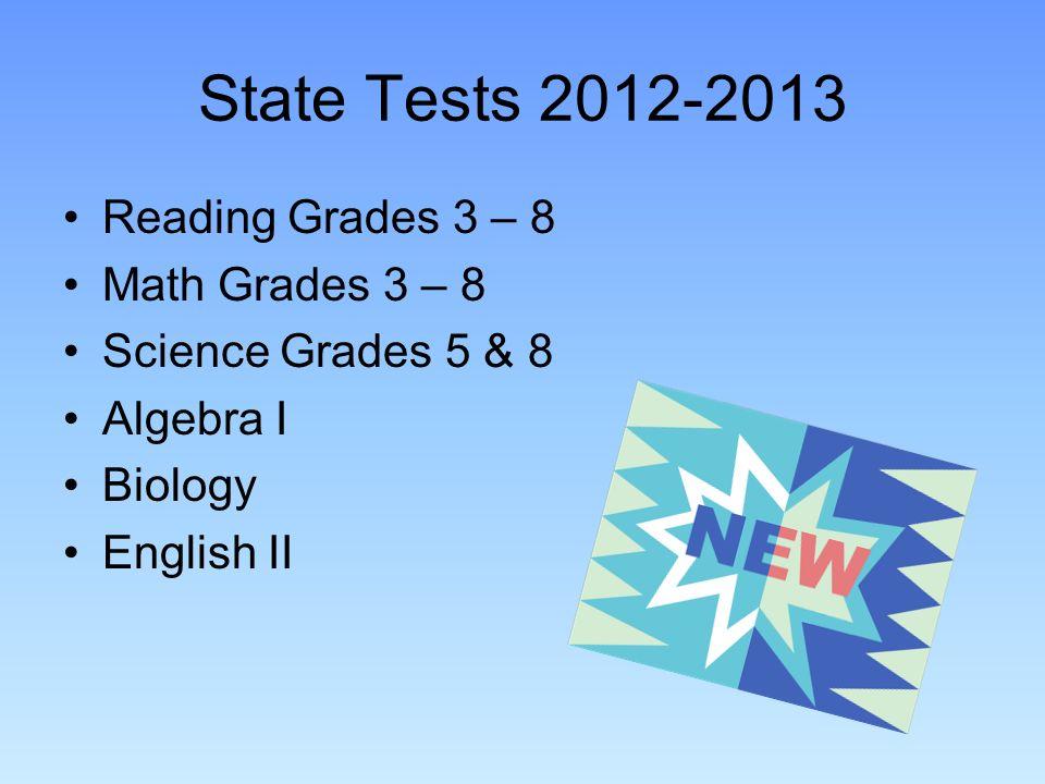 State Tests 2012-2013 Reading Grades 3 – 8 Math Grades 3 – 8 Science Grades 5 & 8 Algebra I Biology English II