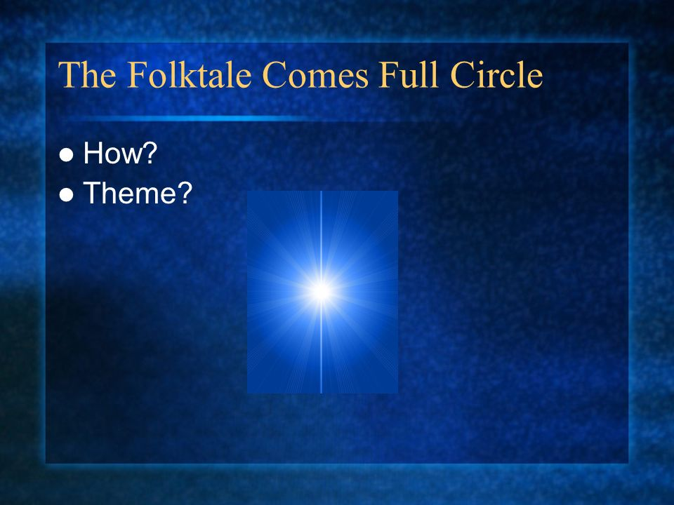 The Folktale Comes Full Circle How? Theme?