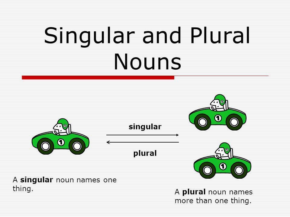 Singular and Plural Nouns singular plural A singular noun names one thing. A plural noun names more than one thing.