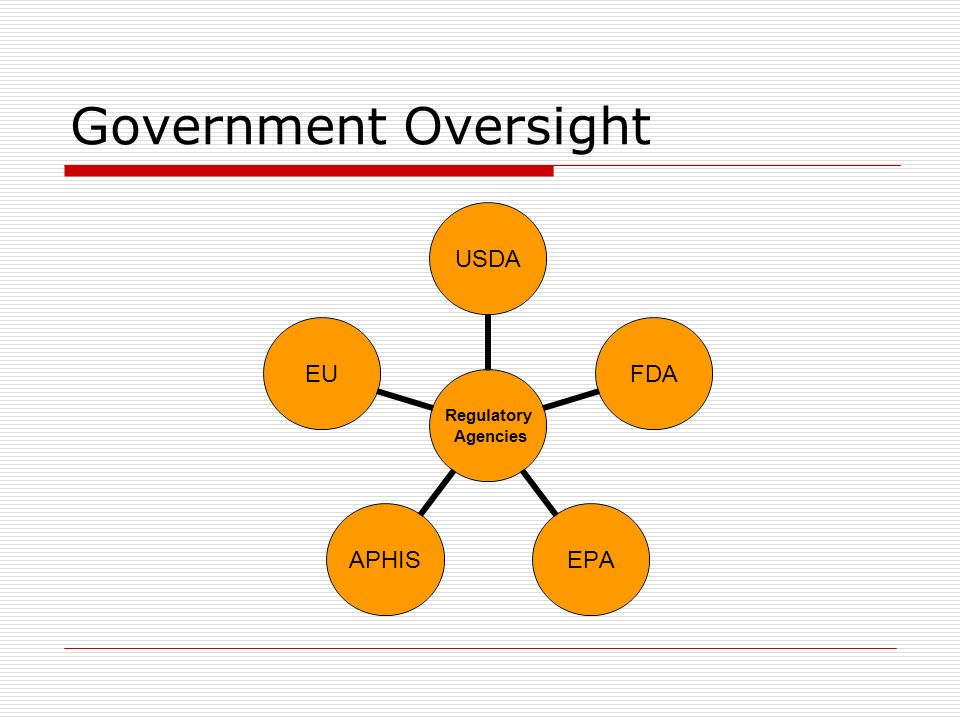 Regulatory Agencies 1.United States Department of Agriculture (USDA) Responsible for oversight on nearly all genetically modified organisms Sets most policy regarding genetically modified organisms.
