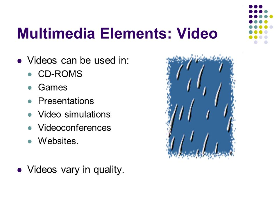 Multimedia Elements: Video Videos can be used in: CD-ROMS Games Presentations Video simulations Videoconferences Websites.