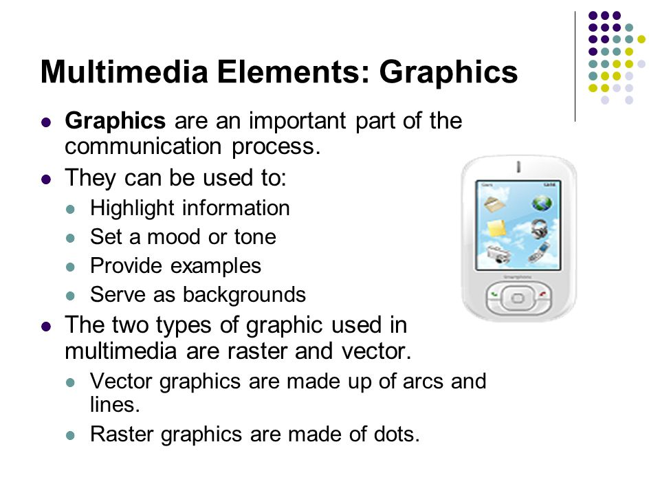 Multimedia Elements: Graphics Graphics are an important part of the communication process.