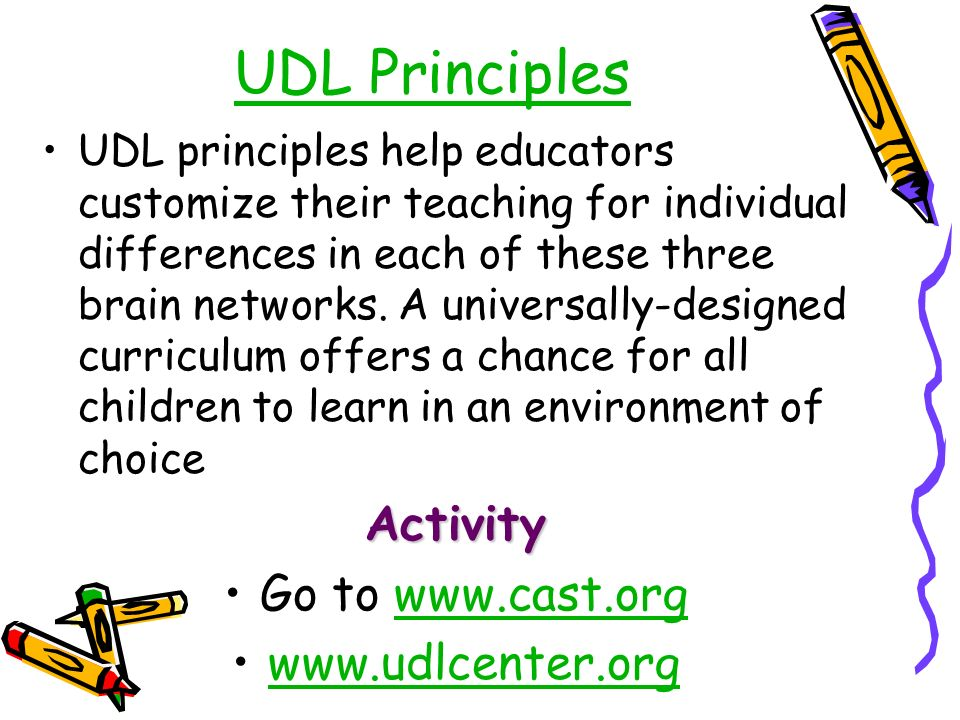 UDL Principles UDL principles help educators customize their teaching for individual differences in each of these three brain networks.