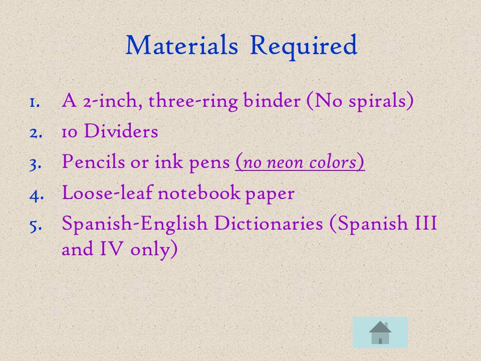 Materials Required 1.A 2-inch, three-ring binder (No spirals) 2.10 Dividers 3.Pencils or ink pens ( no neon colors ) 4.Loose-leaf notebook paper 5.Spa