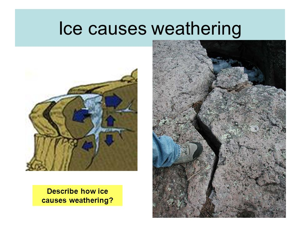 Ice causes weathering Describe how ice causes weathering?
