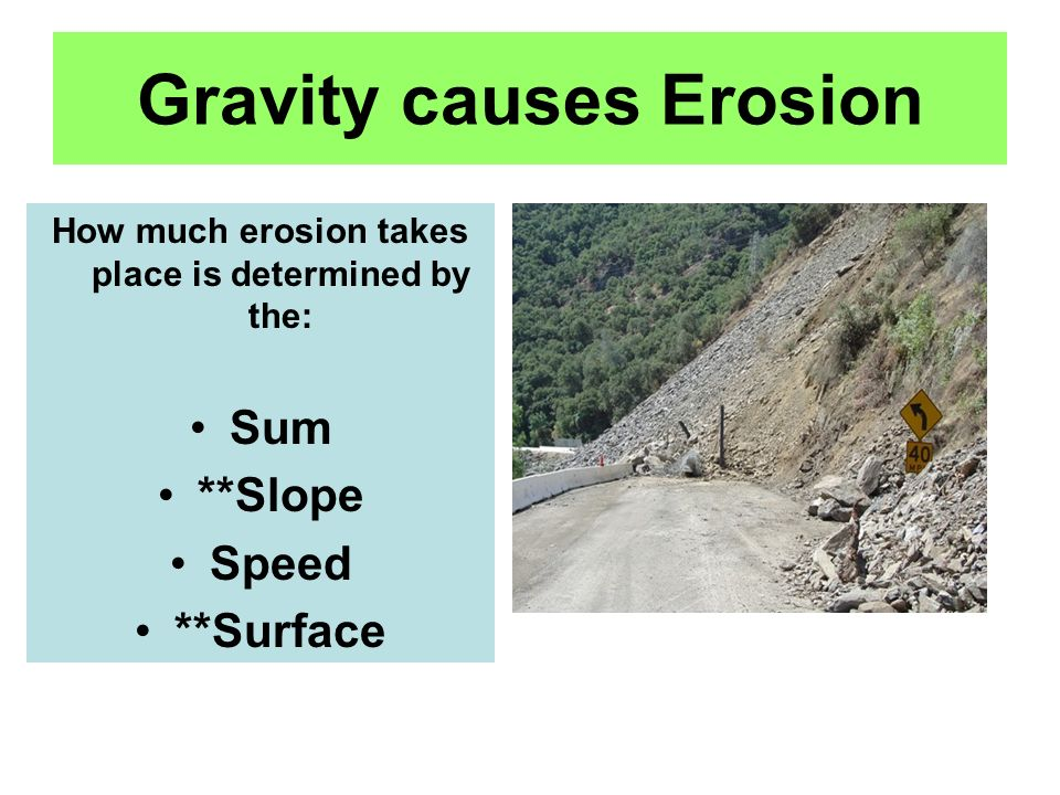 Gravity causes Erosion How much erosion takes place is determined by the: Sum **Slope Speed **Surface