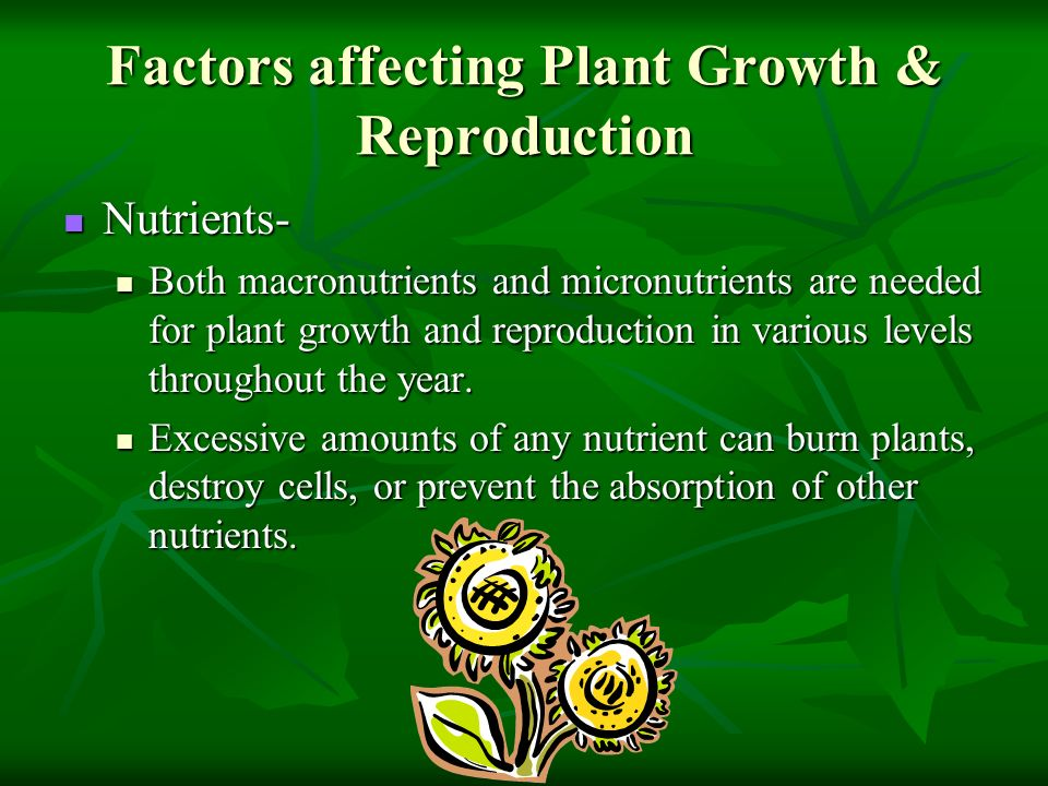 Factors affecting Plant Growth & Reproduction Nutrients- Nutrients- Both macronutrients and micronutrients are needed for plant growth and reproductio