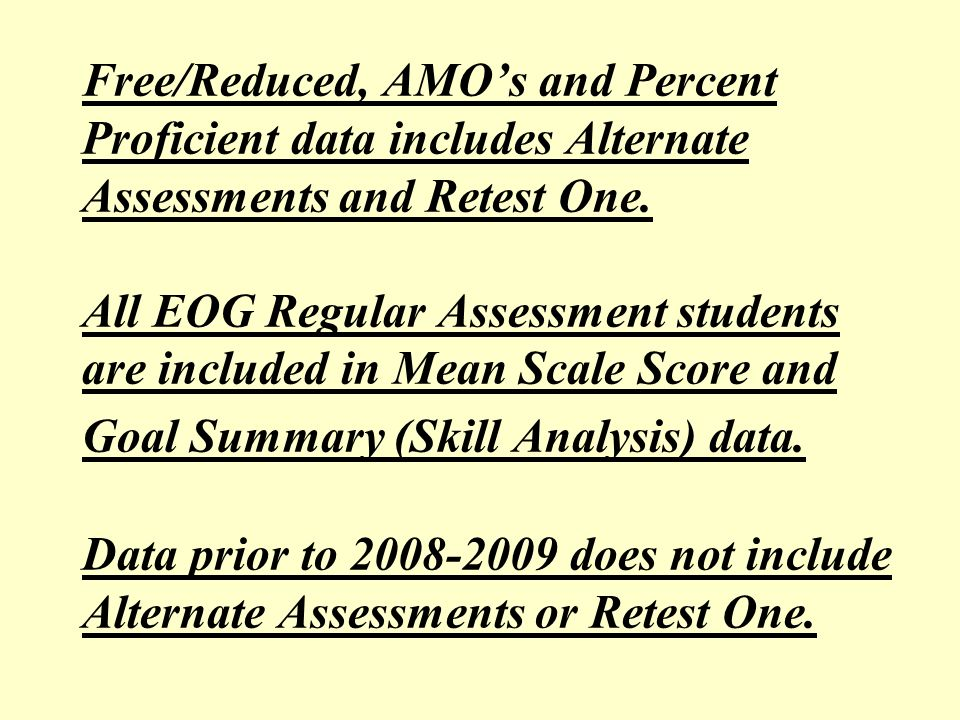Free/Reduced, AMOs and Percent Proficient data includes Alternate Assessments and Retest One. All EOG Regular Assessment students are included in Mean