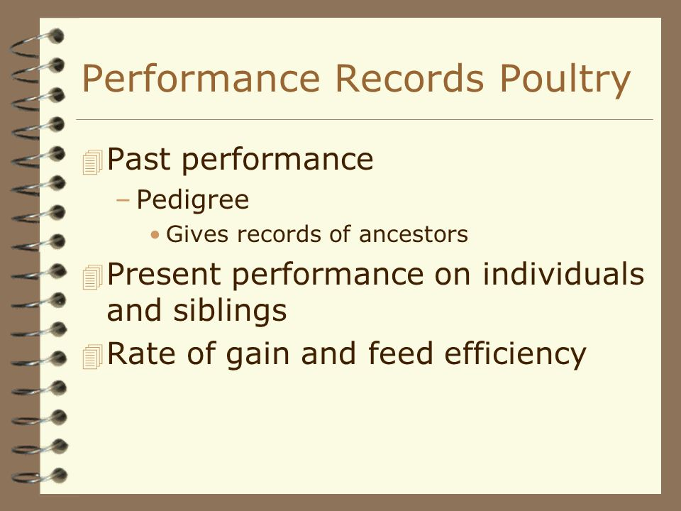 Performance Records Poultry 4 Past performance –Pedigree Gives records of ancestors 4 Present performance on individuals and siblings 4 Rate of gain a