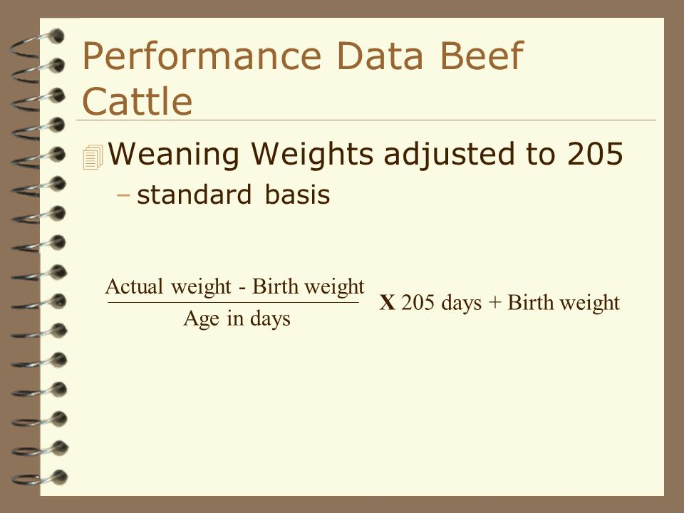 Performance Data Beef Cattle 4 Weaning Weights adjusted to 205 –standard basis Actual weight - Birth weight Age in days X 205 days + Birth weight