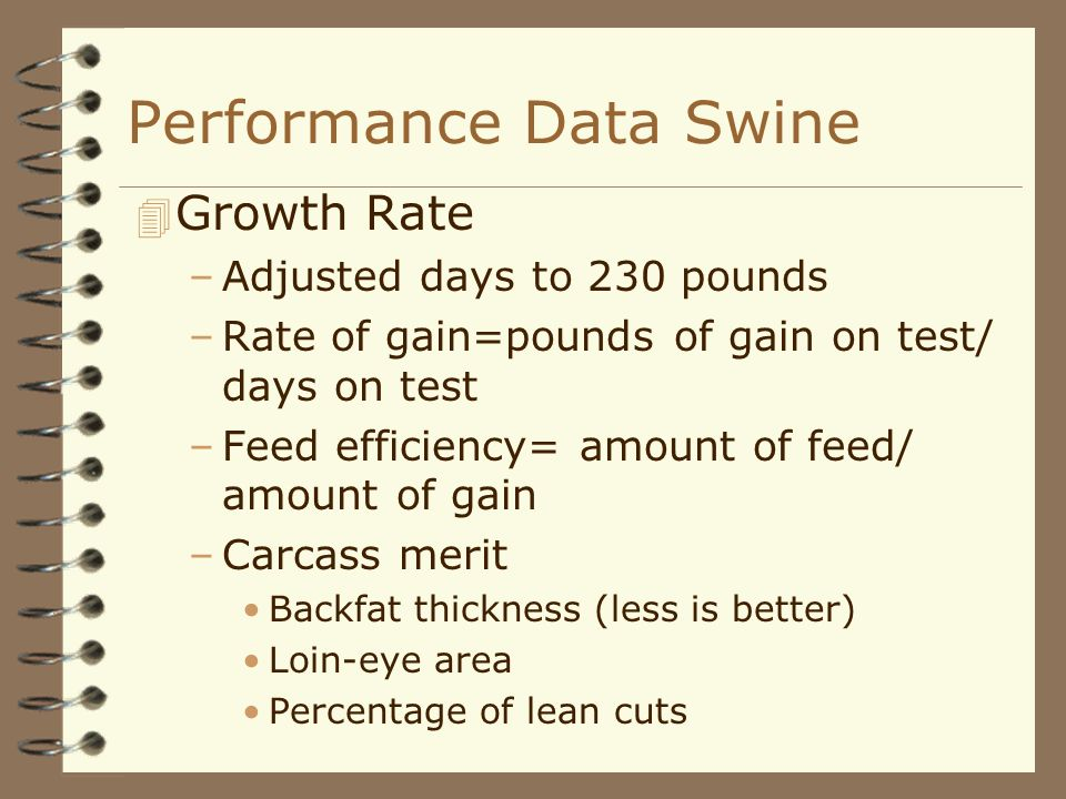 Performance Data Swine 4 Growth Rate –Adjusted days to 230 pounds –Rate of gain=pounds of gain on test/ days on test –Feed efficiency= amount of feed/