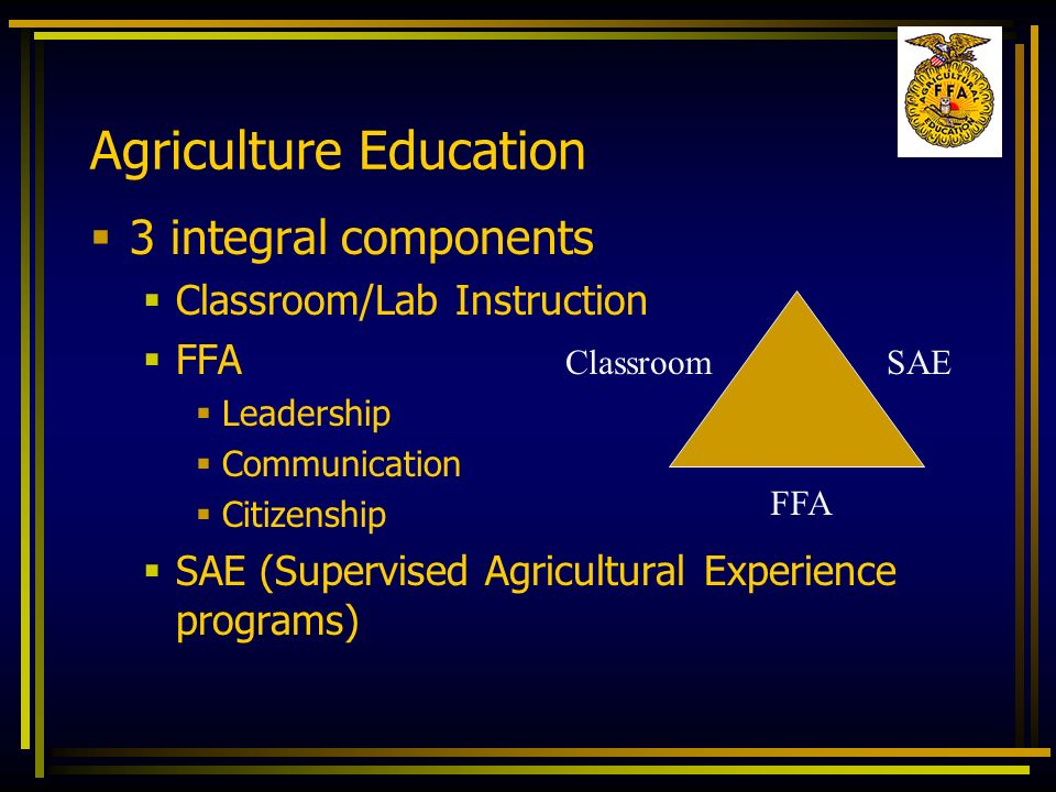 Agriculture Education 3 integral components Classroom/Lab Instruction FFA Leadership Communication Citizenship SAE (Supervised Agricultural Experience