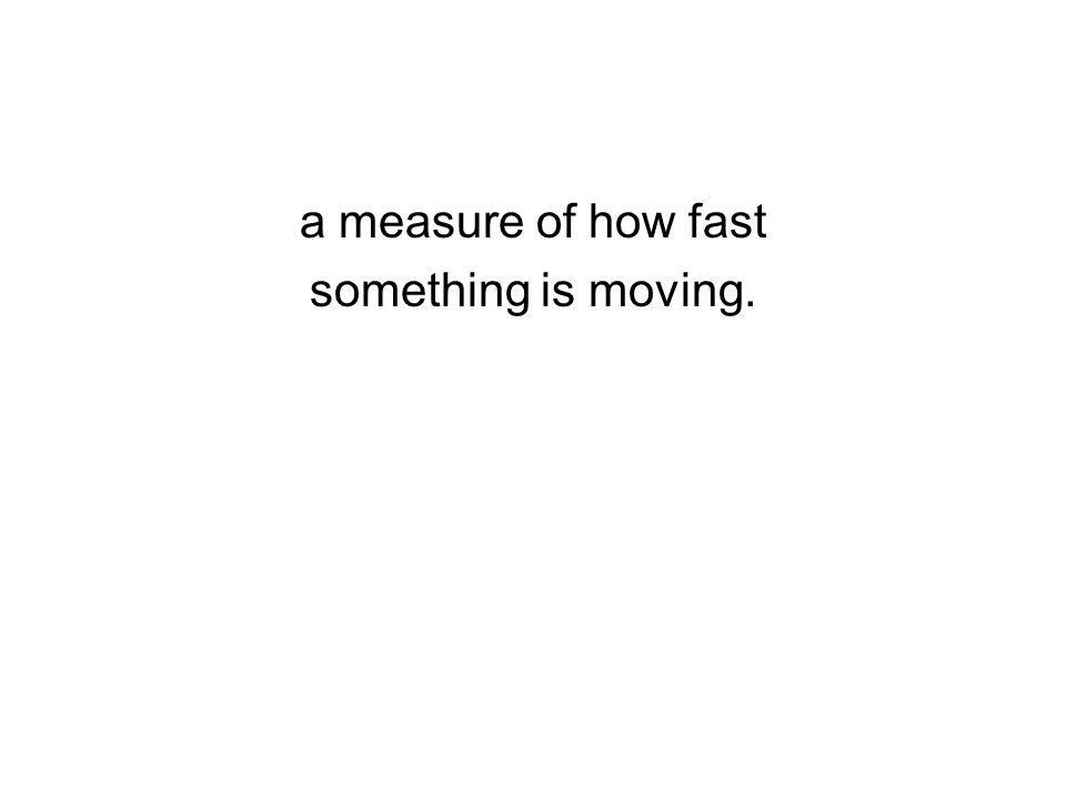 a measure of how fast something is moving.
