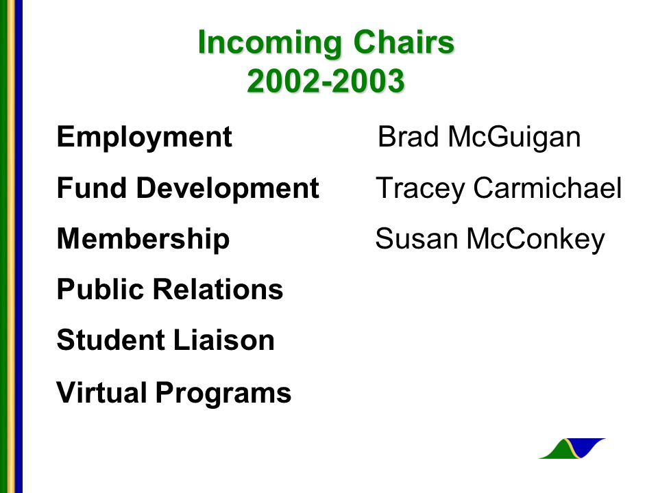 Incoming Chairs 2002-2003 Employment Brad McGuigan Fund Development Tracey Carmichael Membership Susan McConkey Public Relations Student Liaison Virtual Programs