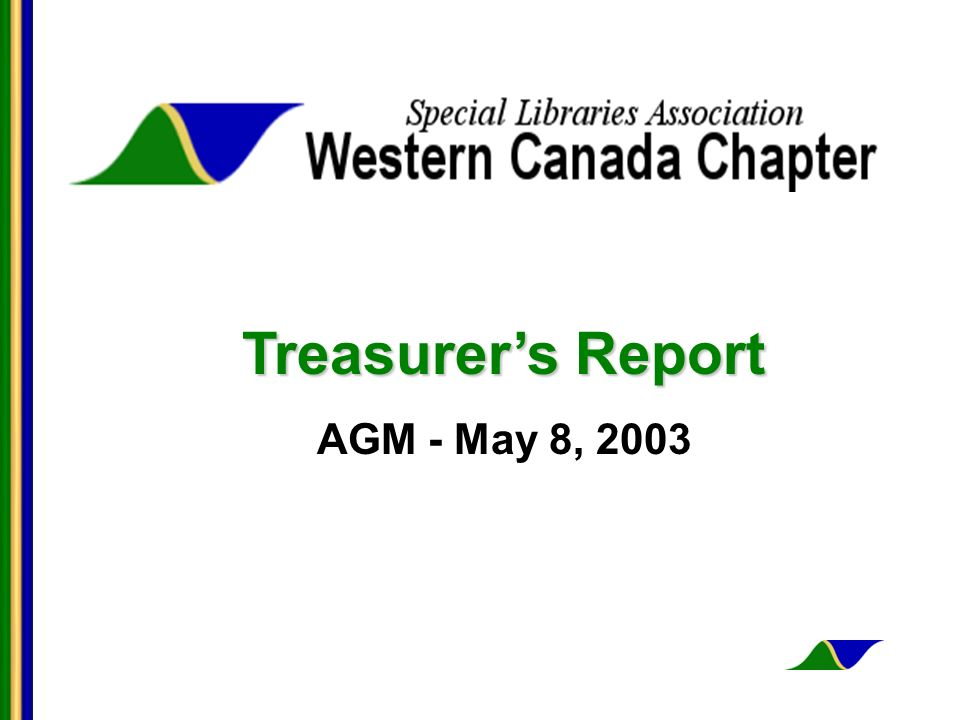 Treasurers Report AGM - May 8, 2003
