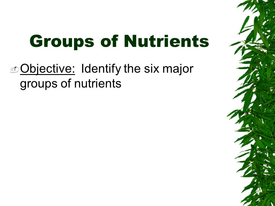 Groups of Nutrients Objective: Identify the six major groups of nutrients