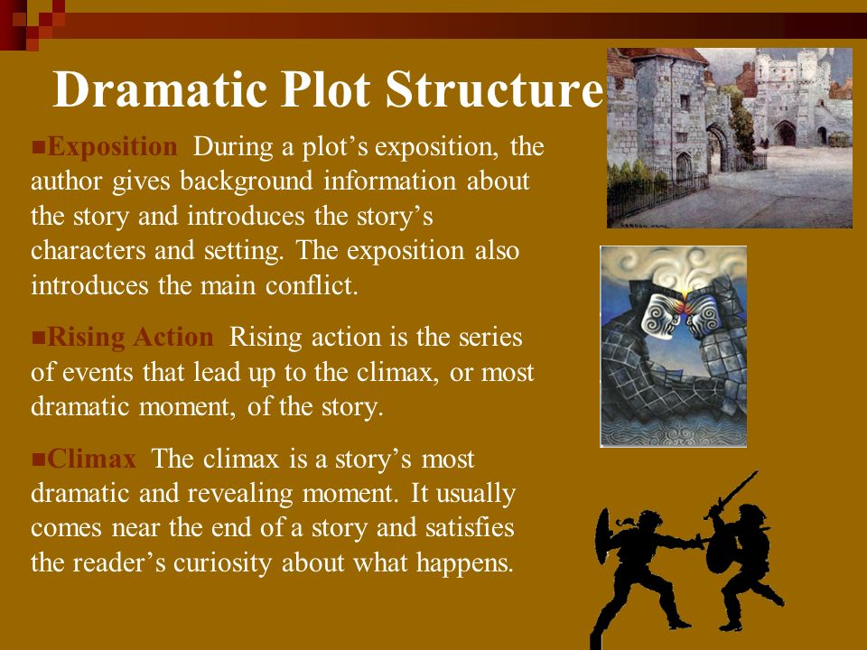 Dramatic Plot Structure Exposition During a plots exposition, the author gives background information about the story and introduces the storys characters and setting.