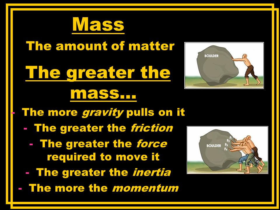 Mass The amount of matter The greater the mass… -The more gravity pulls on it -The greater the friction -The greater the force required to move it -Th