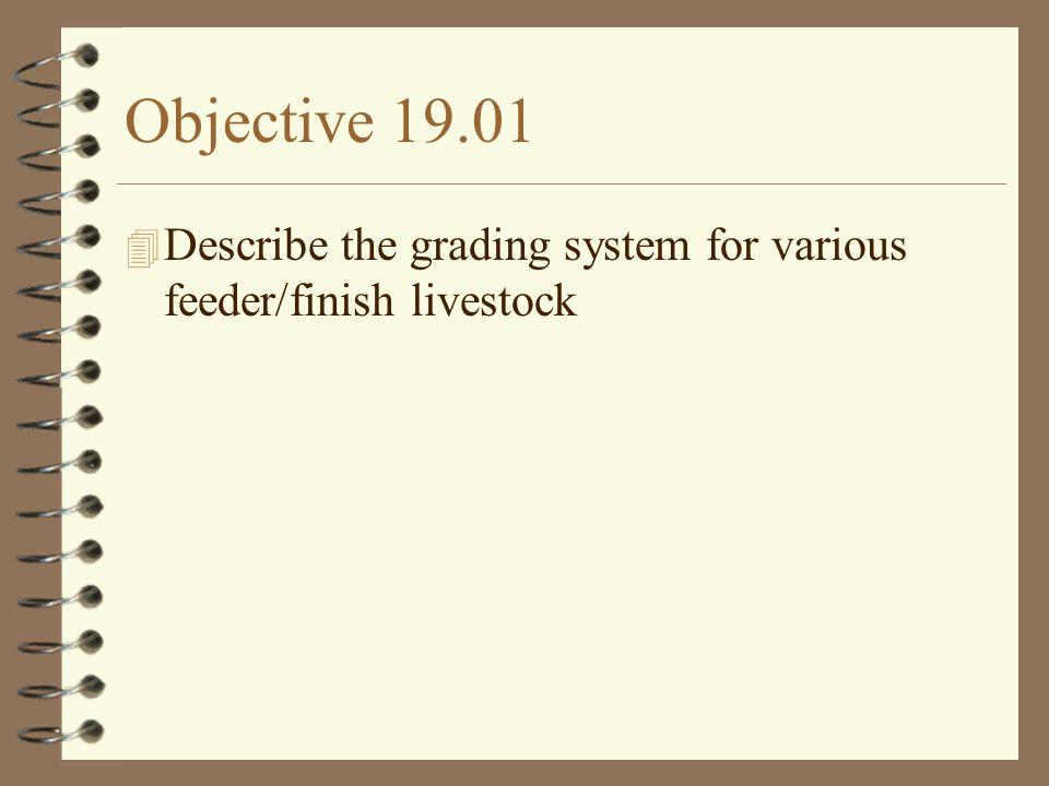 Objective 19.03 4 Classify grades of feeder/finish livestock using a given criteria