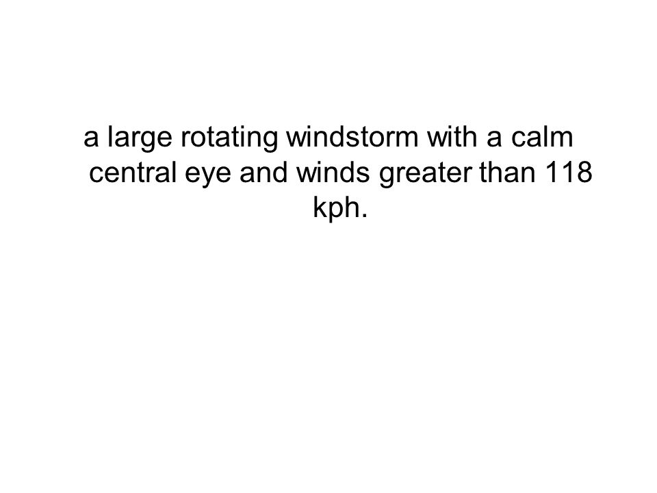 a large rotating windstorm with a calm central eye and winds greater than 118 kph.