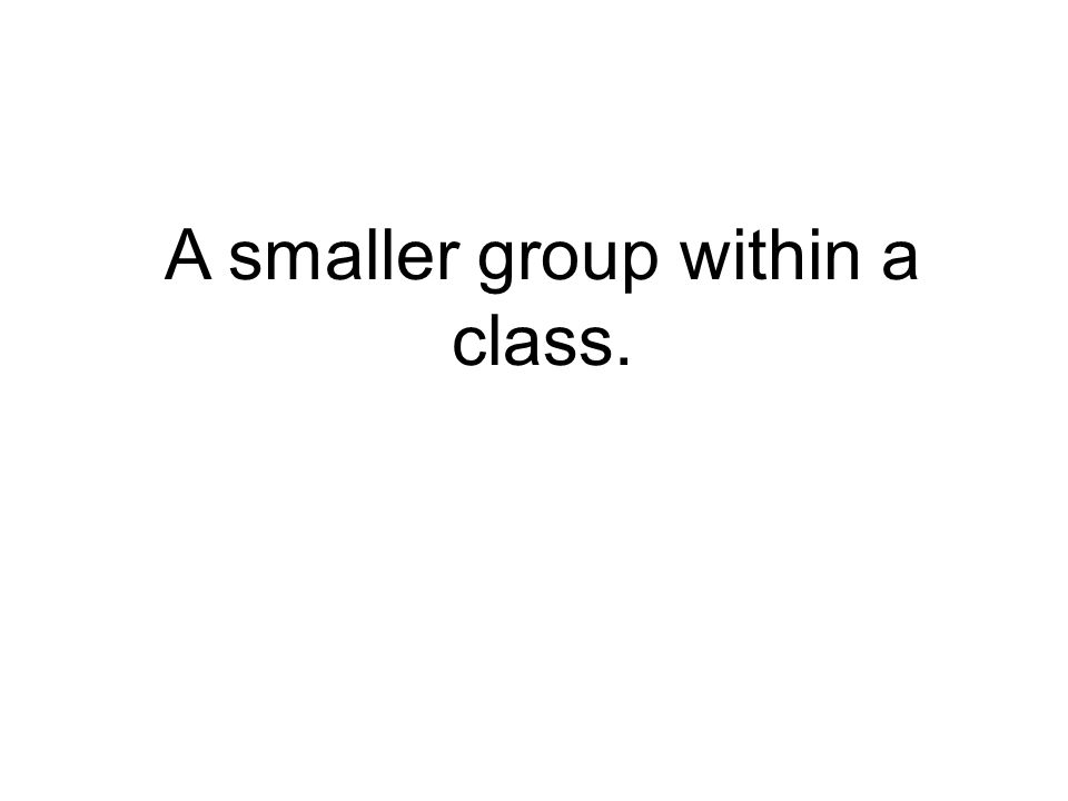 A smaller group within a class.