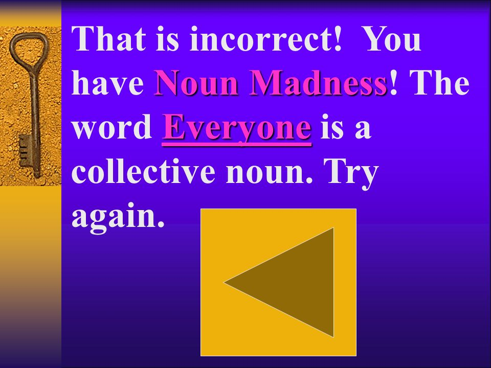 Noun Madness school That is incorrect! You have Noun Madness! The word school is a common noun. Try again.