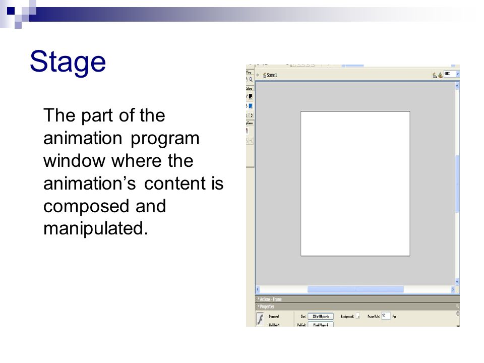 Stage The part of the animation program window where the animations content is composed and manipulated.