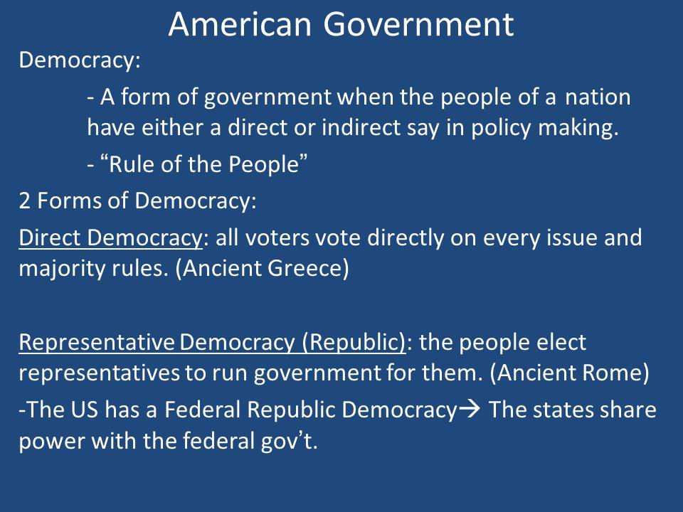 Democracy American Government American Government Democracy