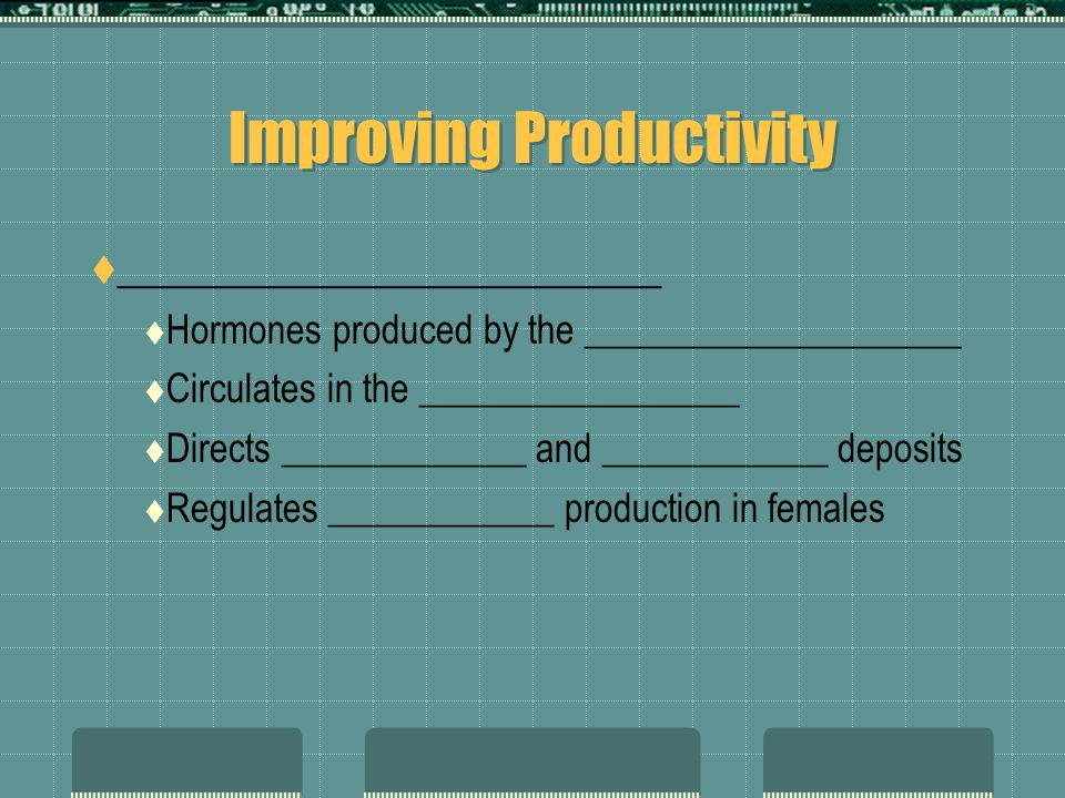 Improving Productivity _________________________ Hormones produced by the ____________________ Circulates in the _________________ Directs _____________ and ____________ deposits Regulates ____________ production in females
