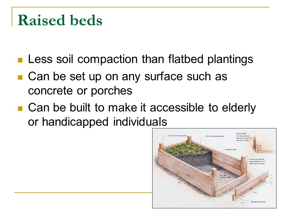 Raised beds Less soil compaction than flatbed plantings Can be set up on any surface such as concrete or porches Can be built to make it accessible to