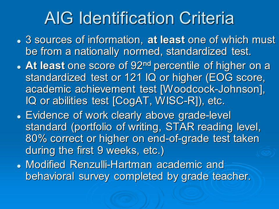 AIG Identification Criteria 3 sources of information, at least one of which must be from a nationally normed, standardized test.
