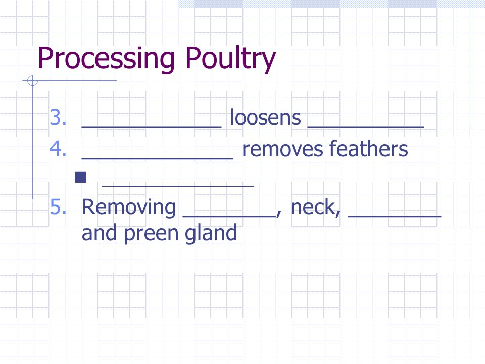 Processing Poultry 3.____________ loosens __________ 4._____________ removes feathers _______________ 5.Removing ________, neck, ________ and preen gland