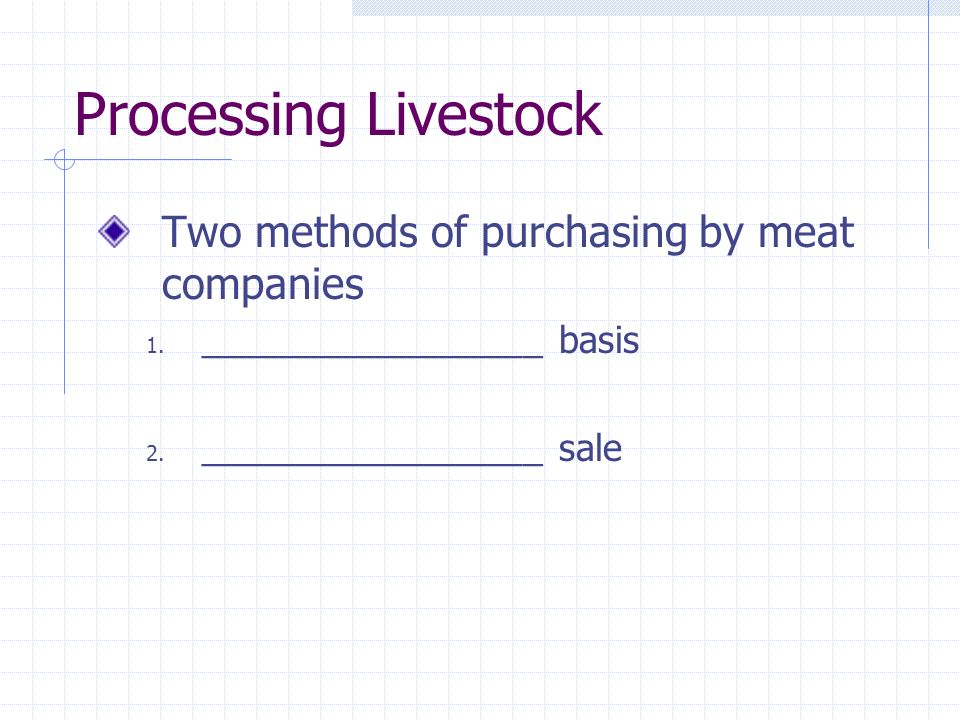 Processing Livestock Two methods of purchasing by meat companies 1. _________________ basis 2. _________________ sale