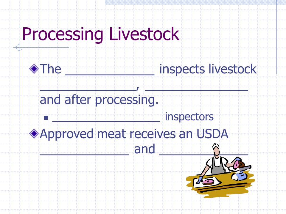 Processing Livestock The _____________ inspects livestock ______________, _______________ and after processing.