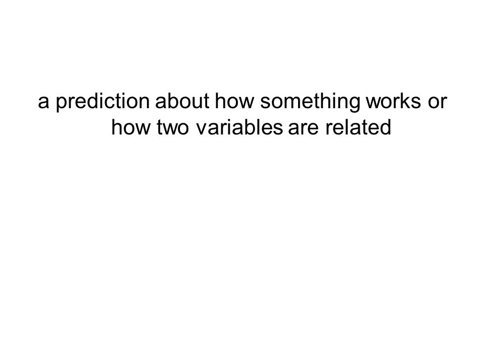 a prediction about how something works or how two variables are related