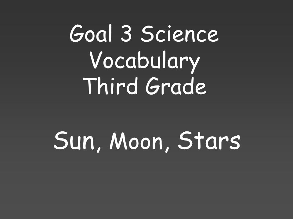 Goal 3 Science Vocabulary Third Grade Sun, Moon, Stars