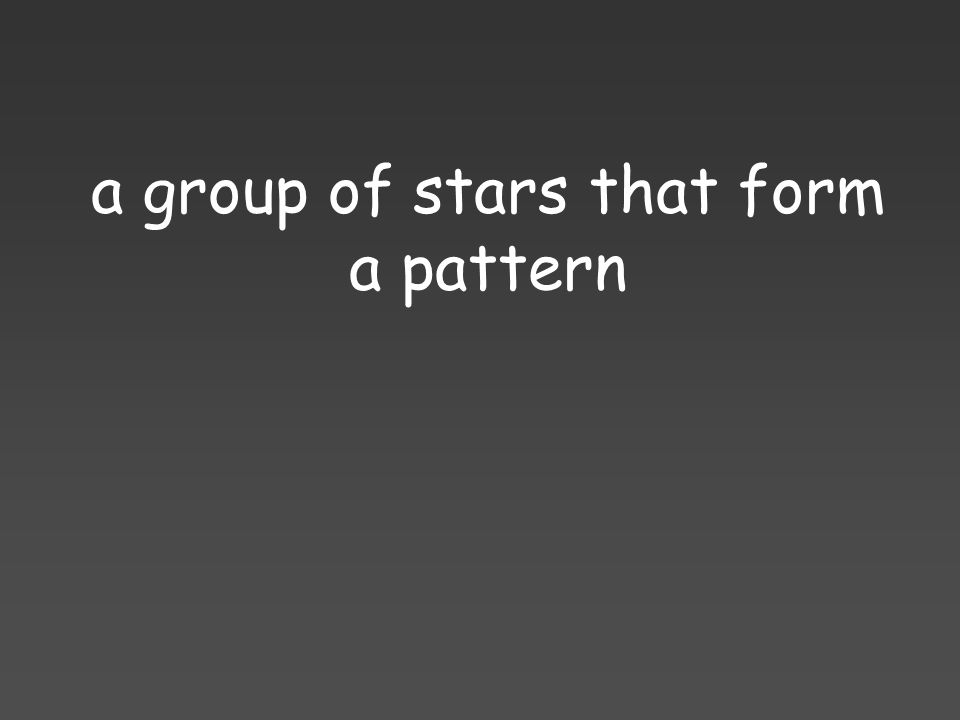 a group of stars that form a pattern