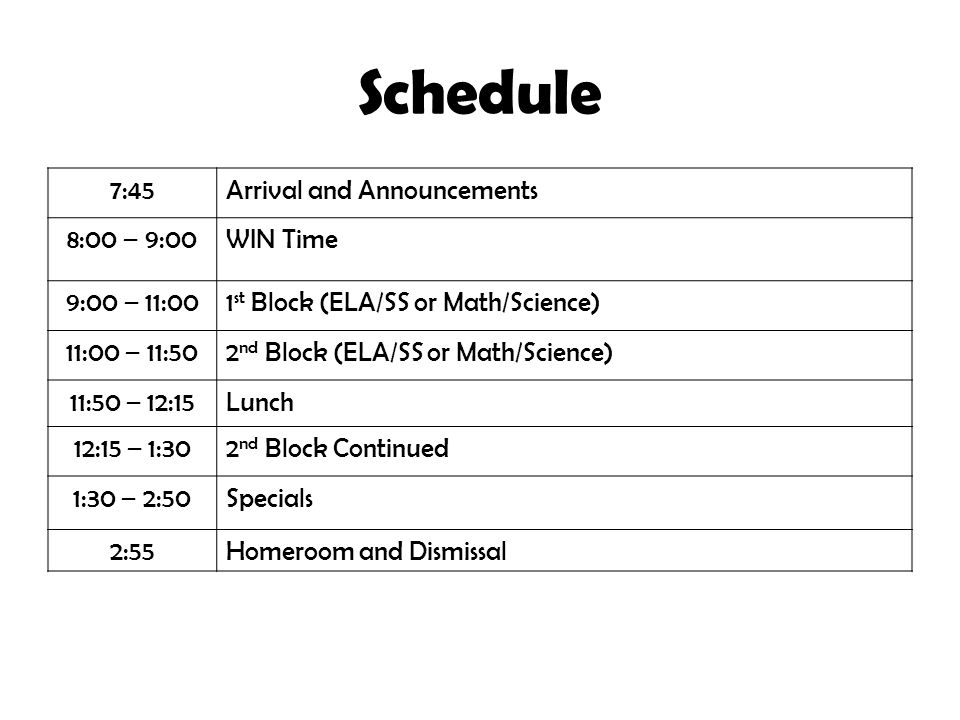 Schedule 7:45Arrival and Announcements 8:00 – 9:00WIN Time 9:00 – 11:001 st Block (ELA/SS or Math/Science) 11:00 – 11:502 nd Block (ELA/SS or Math/Science) 11:50 – 12:15Lunch 12:15 – 1:302 nd Block Continued 1:30 – 2:50Specials 2:55Homeroom and Dismissal