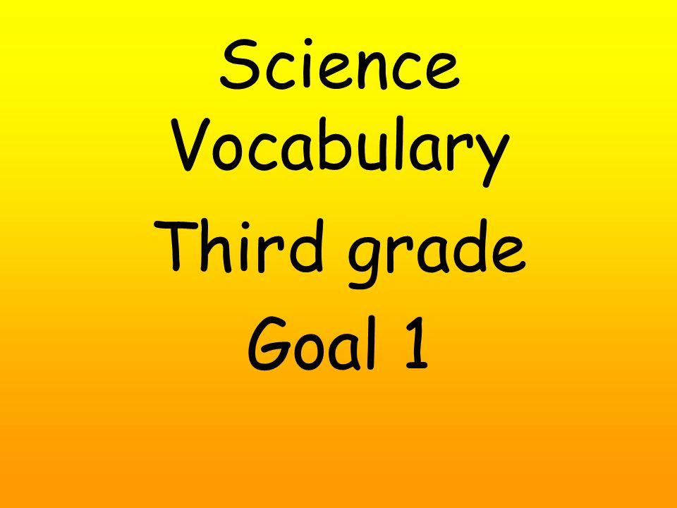 Science Vocabulary Third grade Goal 1