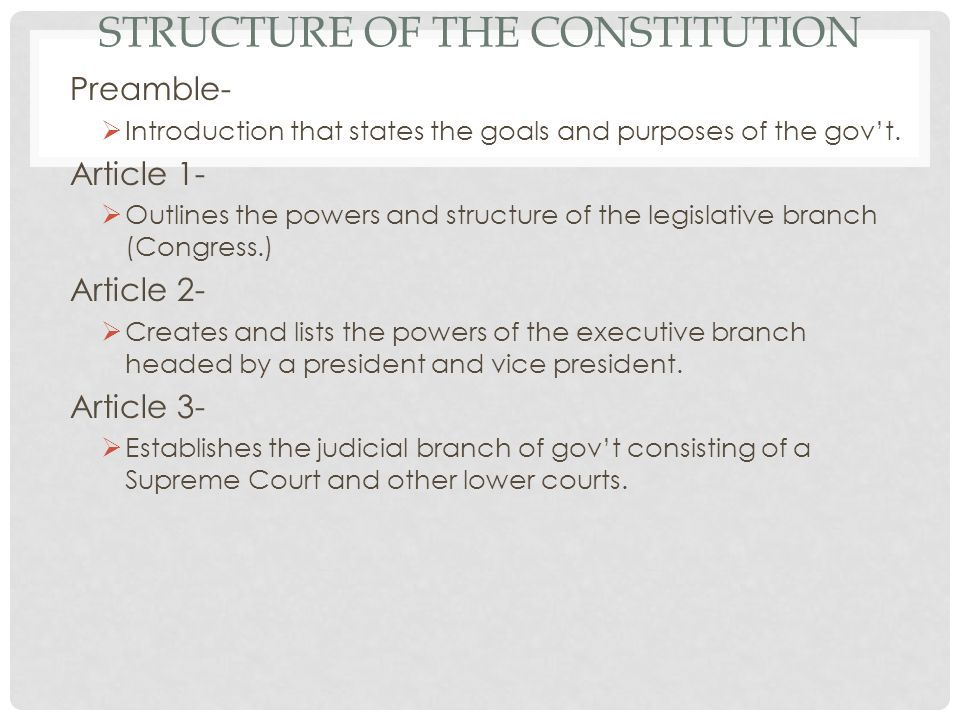 STRUCTURE OF THE CONSTITUTION Preamble- Introduction that states the goals and purposes of the govt.