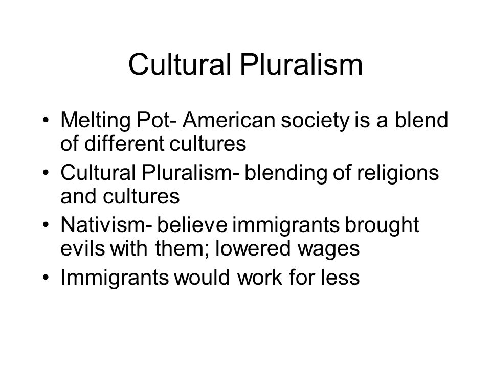 Cultural Pluralism Melting Pot- American society is a blend of different cultures Cultural Pluralism- blending of religions and cultures Nativism- bel