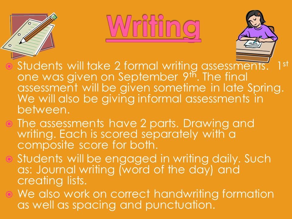 Students will take 2 formal writing assessments. 1 st one was given on September 9 th.
