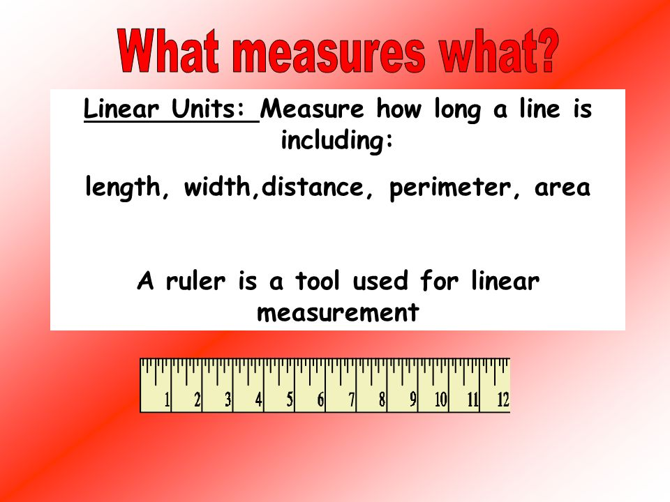 Linear Units: Inches: Short lines Feet: Medium Lines Yards: Long lines Miles: Long Distances