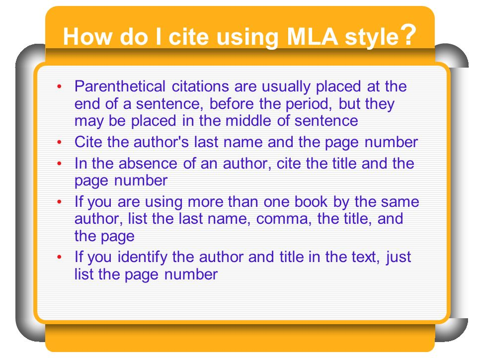 How do I cite using MLA style .