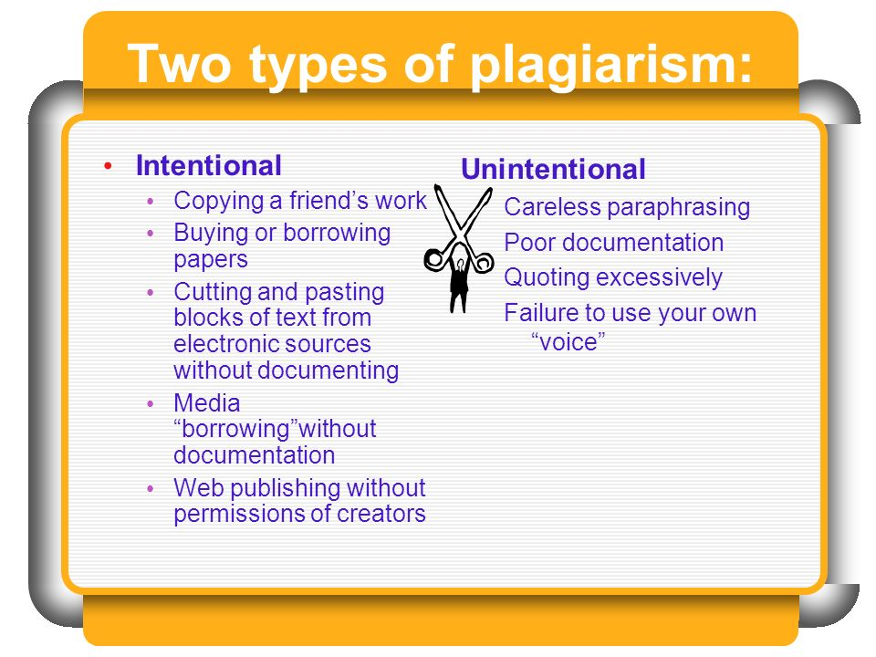 Two types of plagiarism: Intentional Copying a friends work Buying or borrowing papers Cutting and pasting blocks of text from electronic sources without documenting Media borrowingwithout documentation Web publishing without permissions of creators Unintentional Careless paraphrasing Poor documentation Quoting excessively Failure to use your own voice